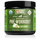 Organic Pre Workout – Apple Ginger *Best All Natural Pre-Workout Powder* Creatine Free Energy Booster to Burn Fat and Build Muscle. Gluten Free, Non-GMO by Natural Force, 3.31 Ounce