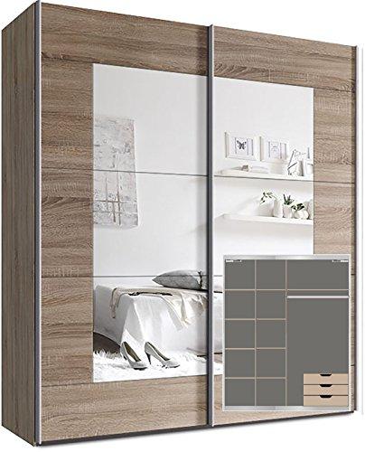 Webesto Kleiderschrank Schwebetürenschrank, ca. 200cm, inkl. 9 Einlegeböden, Türdämpfer für 2 Türen und 3X Schubladen Sonoma Eiche Spiegel