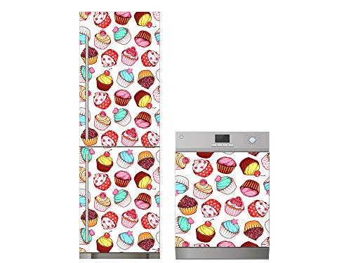 Oedim Pack Vinilo para Frigorífico + Vinilo para Lavavajillas Cupcakes | 60x185cm + 65x75cm | Adhesivo Resistente y Económico | Pegatina Adhesiva Decorativa de Diseño Elegante