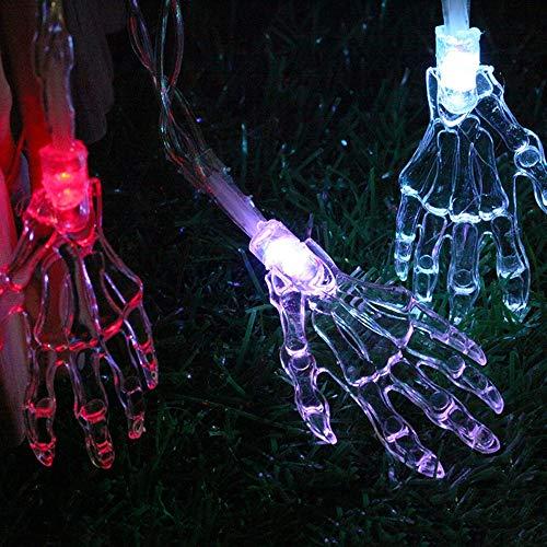 WUBAILI Halloween Licht 1,5 M / 2 M Skelett Hand Led Lichterkette Batteriebetrieben Perfekt für Halloween Terror Atmosphäre Dekoration,Warmwhite,2M20LED