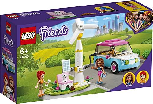 LEGO 41443 Friends Olivias Elektroauto Set, Spielzeug ab 6 Jahren mit Mini Puppen Olivia & Mia und Spielzeugauto, Lernspielzeug