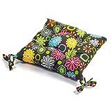 4-er Set, Stuhlkissen ca. 40x40x5 cm, Schwarz/Grün/Blumen, Dicke Polyester Gesteppt für Stühle &...