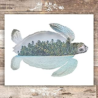 Double Exposure Sea Turtle Print - Unframed - 8x10