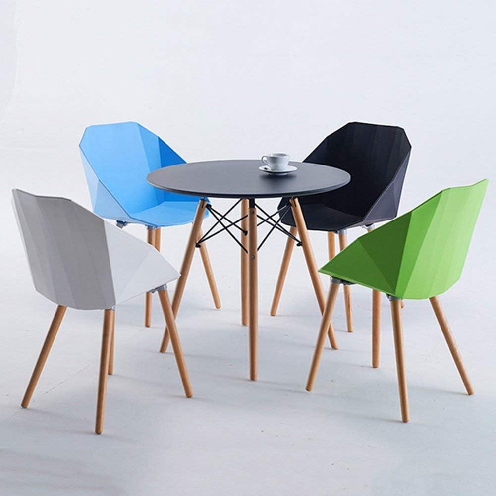 WSY Siège de Forme géométrique, Chaise à Dossier Simple décontractée en Bois massifWSY Blue