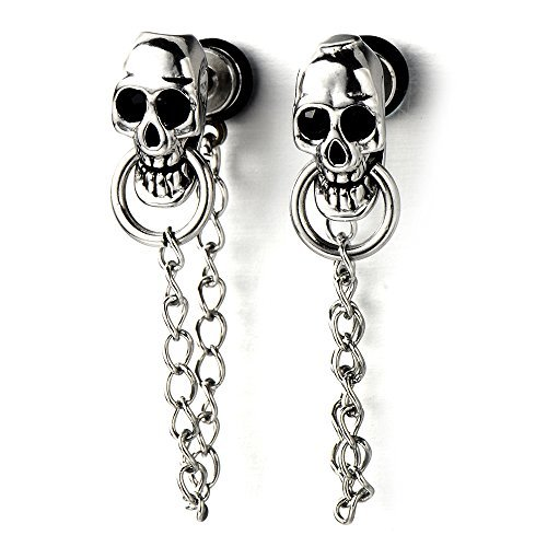 Cadena Gótico Cráneo Pendientes de Hombres de Mujer, Acero Inoxidable, 2 Piezas