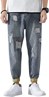 YOUTHUP Men's Vintage Ripped Jeans Summer Lightweight Pants Tied Casual Denim Trousers
