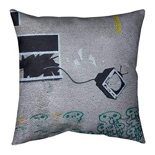 Best Deals! ArtVerse Banksy Graffiti TV Through Window Floor Pillow - Standard, 36 x 36, Gray