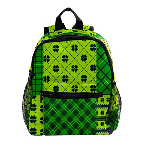 School Backpack Kids Schoolbag Student Bookbag,Green Happy St Patricks Day Plaid Pattern