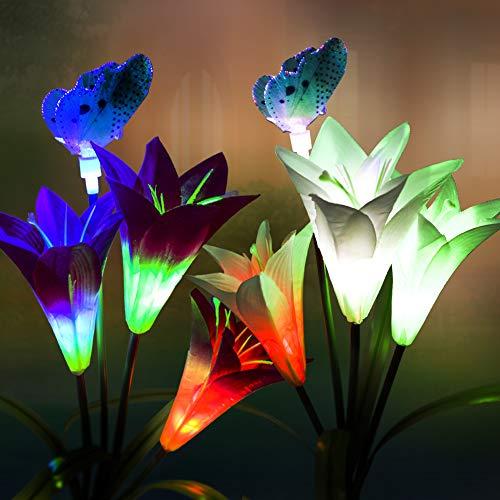 Juego de 2 lámparas solares para jardín, con cambio de color, para decoración de jardín, césped, balcón, terraza
