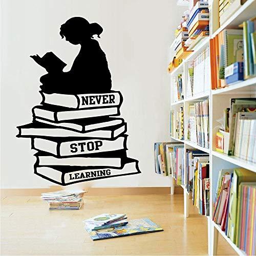Grote meisjesleesboeken horen nooit op inspirerende citaat-wandstickers kunsttraining van de citaatwandstickers schoolbibliotheek te leren
