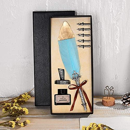 Penna d'oca, set di penna piuma d'oca fatta a mano penna d'oca calligrafia antica con inchiostro, punte in acciaio penna d'oca calligrafia, 5 punte di ricambio, base del pennino (senza inchiostro)