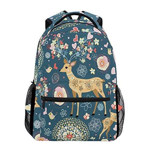 Mochila de viaje de flores de ciervo de dibujos animados para la escuela de niñas y niños niños animales elementales aves corazón estudiante Bookbag Daypack hombro