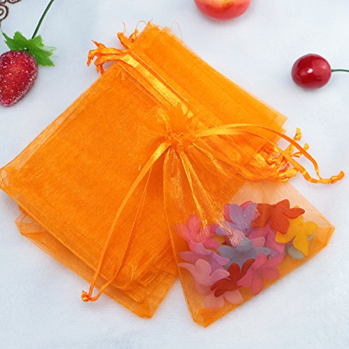 100pcs Drawstring Organza Gift Pouches for Wedding Party Favor, Gift,Jewelry, Candy, Tulle Bags (Orange)