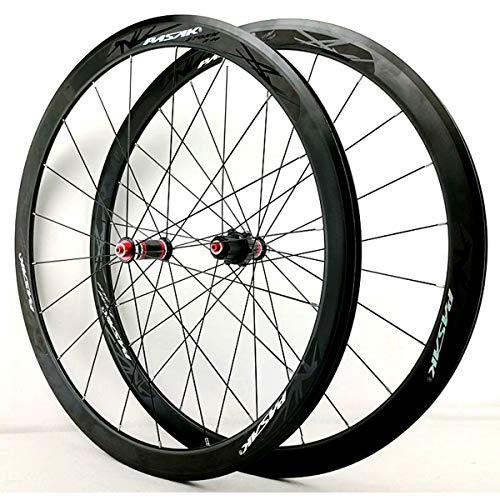 MZPWJD Ruedas Bicicleta Carretera 700C Freno V Juego Ruedas Bicicleta Híbrido/Montaña Buje Fibra Carbono para velocidades 7/8/9/10/11 Casete 1830g Neumático 20~32C (Color : Black)