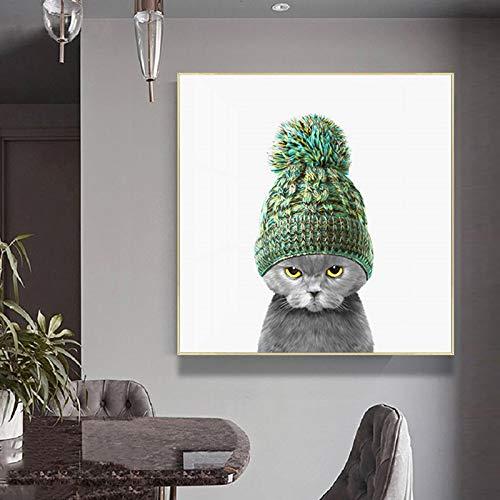 ganlanshu Rahmenlose Malerei Grüne Katze Wolle Hut Tier Poster und Druck Leinwand Wandbild, Wohnzimmer Dekoration GemäldeZGQ5557 40X40cm