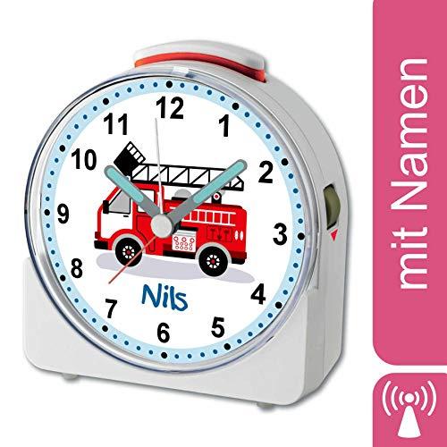 CreaDesign, Feuerwehr, analog Kinderwecker weiß, Funkwecker mit Sweep-Uhrwerk und fluoreszierenden Zeiger und Licht, personalisiert mit Namen, 10,2 x 4,6 x 11 cm