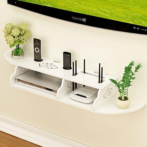DS Shelf Einfache Holzregal Wand Racks-Router TV Set-Top-Regal, Frei Punching Wohnzimmer TV Wand Aufbewahrungsbox # (Größe : 98X23.5CM)