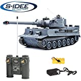 s-idee 22002 Battle tanque 99807 German Tiger 1:28 con sistema de combate de infrarrojos integrado 2.4 Ghz RC R/C tanque teledirigido con función de disparo por infrarrojos, luz de sonido