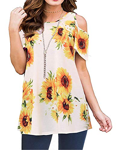 Luranee Cold Shoulder Tops for Women, Peasant Blouses Adorable Short Sleeve Dressy Shirts Simple Crew Neck Gorgeous Floral Pattern Flare Style Cute Top Travel Summer Outfits Sunflower XL