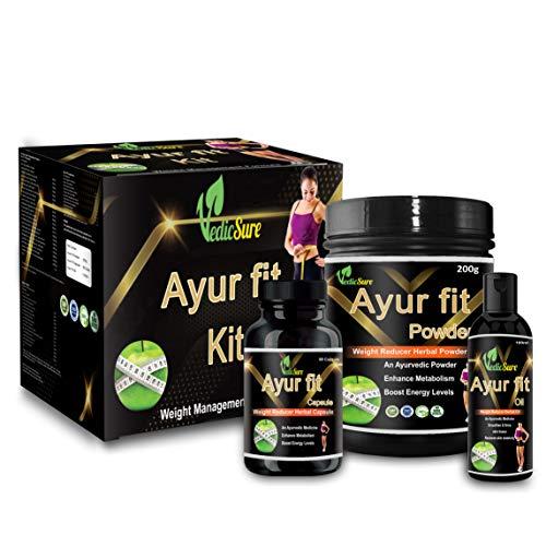 Ayurvedic Sure AyurFit Ayurvedic Weight Loss Medicine Pure Natural Medicine for Man and Woman Both Full Kit -(Powder+Capsule+Oil)