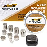 Pinewood Derby Weights 4 Oz Power Bundle - 3 Oz Premium Tungsten Incremental Cylinder + 1 Oz Putty Weight Combo - Specially Designed for Pinewood Racing Car Builders & Racers - Ultra High Density