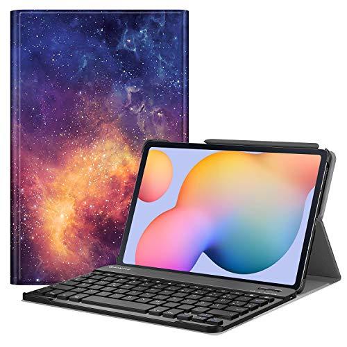 Fintie Tastatur Hülle für Samsung Galaxy Tab S6 Lite 10,4 SM-P610/ P615 2020 mit Stifthalter - Ultradünn Keyboard Case mit magnetisch Abnehmbarer drahtloser Deutscher Tastatur, Die Galaxie