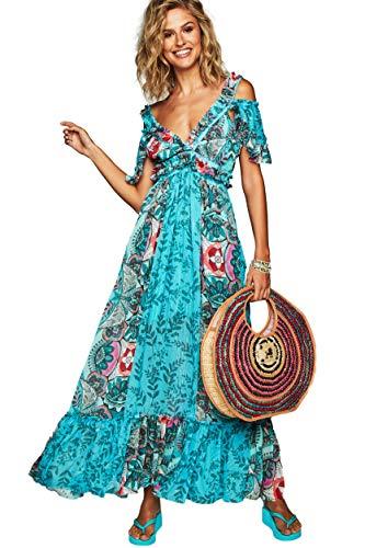 H Preppy Vestido Pico Largo Estampado Modelo 7771 Color Azul (S)