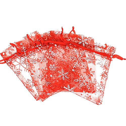 100 bolsas bolsitas de organza navideña de 9 cm x 12 cm bol