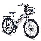 Liu Yu·casa creativa Bicicleta eléctrica de montaña para Mujer con Cesta 36V 350W Bicicleta eléctrica de 26 Pulgadas Bicicleta eléctrica de aleación de Aluminio (Color : White, Number of speeds : 7)