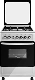 Super General Freestanding Gas-Cooker 4-Burner Full-Safety, Stainless-Steel Cooker, Gas Oven with Rotisserie, Automatic Ig...