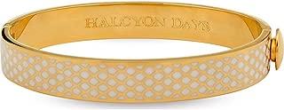 Salamander Hinged Bangle / Bracelet for Women Cream Enamel & Gold, One Size Fits All