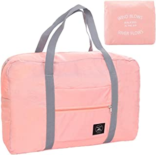 Foldable Travel Bag Tote Lightweight Waterproof Duffel Bag Carry Storage Luggage Portable Folding Bag by VAQM (Foldable Travel Bag for Pink)