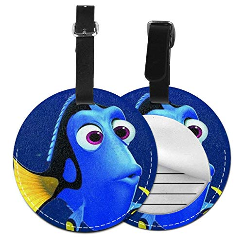 Round Lage Tags Cartoon Finding Nemo Lage Tags Suitcases Baggage Bags Adjustable Strap Leather Lage Tag for ID Labels Set for Travel 4 PCS