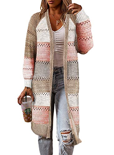 FIYOTE Strickjacke Damen Einfarbig Lang Cardigan Sweater Strickmantel Strick Offene Tops Strickpullover Grau Bunt XXL
