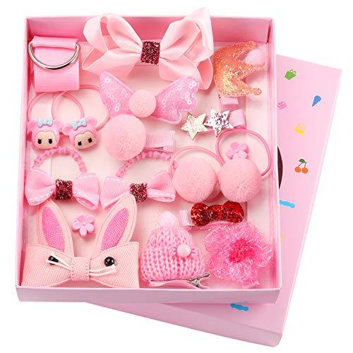 Seatecks 18 Pièces Bébé Pince à Cheveux Set Accessoires Cheveux Jolie Partie Bowknot Fleur Multi-Style Ruban En Épingle À Cheveux pour Petites Filles Bébé Enfant