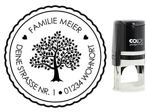 Adressstempel Baum mit Namen Straße und Ort, Stammbaum, Stempel Hochzeit, verschiedene Motive, Colop mit integriertem Stempelkissen (Baum)