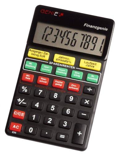 Genie financiële genie 10-cijferige rekenmachine (druk op de knop te veranderen, looptijden, raten, besparingen, besparingen) zwart