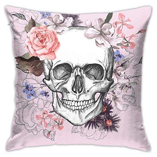 Lsjuee Funda de Almohada Skull Flowers Day Dead Vintage Vector Funda de Almohada Cuadrada 18 x 18 Pulgadas para Sala de Estar Sofá Dormitorio