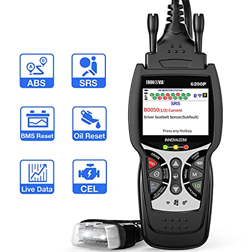 INNOVA 6200 Plus ABS SRS OBD2 Scanner Diagnostic Scan Tool with Battery Reset/Oil Light Reset,Car Code Reader with Code Severity Levels/All Systems Scan/Battery Test /Live Data/