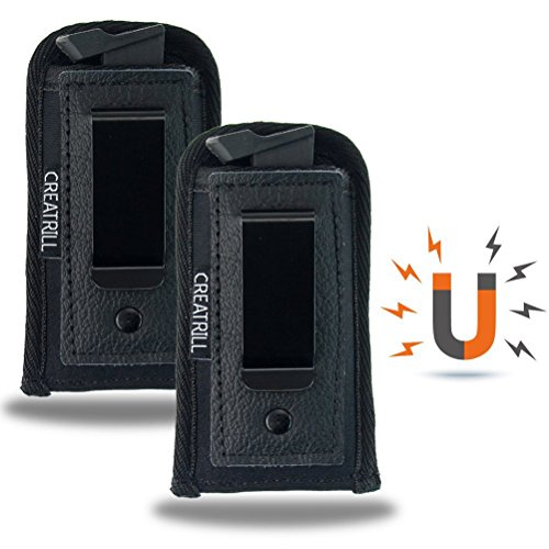 Price comparison product image CREATRILL 2 Pack Magnetic Pistol Magazine Holsters / Inside The Waistband IWB Tactical Mag Holder / Single Double Stack Mag Pouch for 9mm / .40 cal / 380 (Medium Single Stack 9mm / .380 Cal)