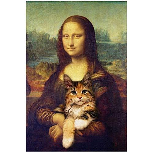 Mona Lisa sosteniendo al gato Arte divertido Pinturas sobre lienzo en la pared Carteles e impresiones de arte Láminas de cuadros famosos de Da Vinci-50x70 cm Sin marco
