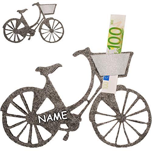 Geldgeschenk / Deko / Glückwunschkarte - Filz - Fahrrad / Bike - E-Bike - grau - inkl. Name - ideal für Gutschein + Geldscheine + Foto´s + Glückwünsche - Geld..