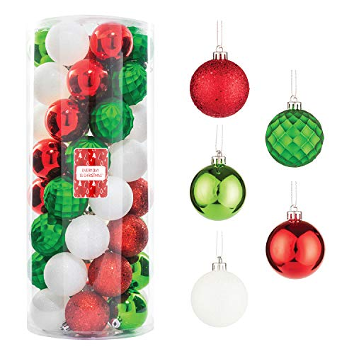 """Every Day is Christmas 50ct 57mm/ 2.24"""" Christmas Ornaments, Shatterproof Christmas Tree Ornaments Set, Christmas Balls Decoration (Green, Red, White)"""