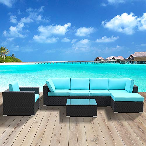 Bellemave Seven Patio Furniture Sets, All-Weather Outdoor PE Wicker Rattan Sofa, Hand-Woven PE Rattan Sofa with Cushions and Coffee Table (Blue)