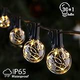 Lichterkette Außen IP65 Lichterkette Glühbirnen G40 GlobaLink 11,7M Garten Lichterkette mit 30 Birnen Außen-/Innenbeleuchtung mit stecker Deko für Zimmer, Bar, Garten, Balkon(1 Ersatzbirnen)-Warmweiß