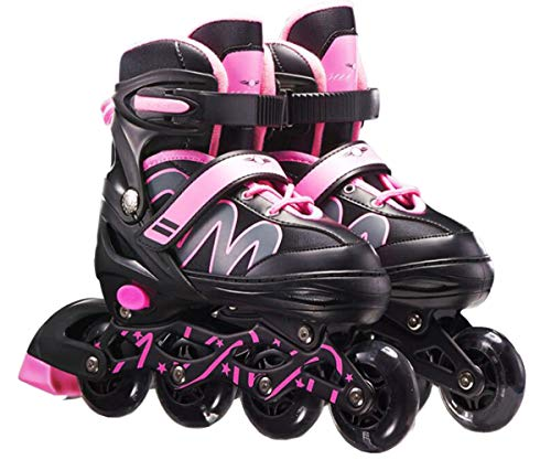 XIUWOUG Herren Damen verstellbare Inliner Inlineskates,Größe 26-42 Unisex Fitness Skates für Erwachsene Rädern Rollschuhe für Jungen Mädchen Anfänger,Rosa,L (37~42)