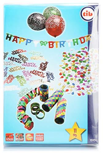 TIB Heyne 11-teiliges Geburtstagsdeko-Set, Konfetti, Luftballons, Luftschlangen und Buchstabengirlande, Happy Birthday Party Zubehör