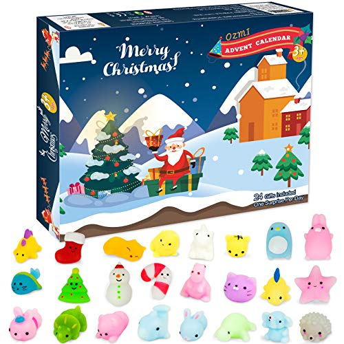 OZMI Advent Calendar 2020 for Kids, Christmas Countdown Calendar Toy for Girls Boys Kids Adults with 24 Pcs Mochi Squishy, Surprise Relief Stress Toys for Count Down Christmas Holiday Party Challenge