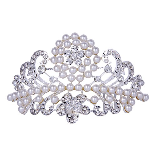 ROFIFY Audrey Hepburn Style Classic Vintage Pearl Crystal Silver Plated Crown with Comb Wedding Bridal Flower Tiara Headband FJ07