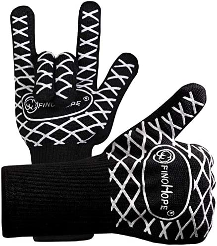 FINOHOPE BBQ Grilling Gloves 932 F Extreme Heat Resistant Silicone Grill Gloves Kitchen Oven product image